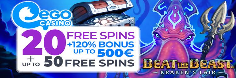 Ego Casino: 20 Free Spins No Deposit